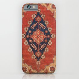 Southwest Tuscan Shapes II // 18th Century Aged Dark Blue Redish Yellow Colorful Ornate Rug Pattern iPhone Case