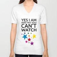 lesbian V-neck T-shirts featuring LESBIAN T SHIRT by Piensa Gay