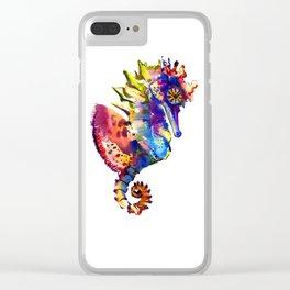 Rainbow Seahorse, seahorse art design Clear iPhone Case