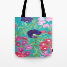 Blue Floral Print Tote Bag