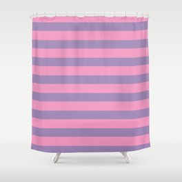 Pink & Lavender Stripe Pattern Shower Curtain