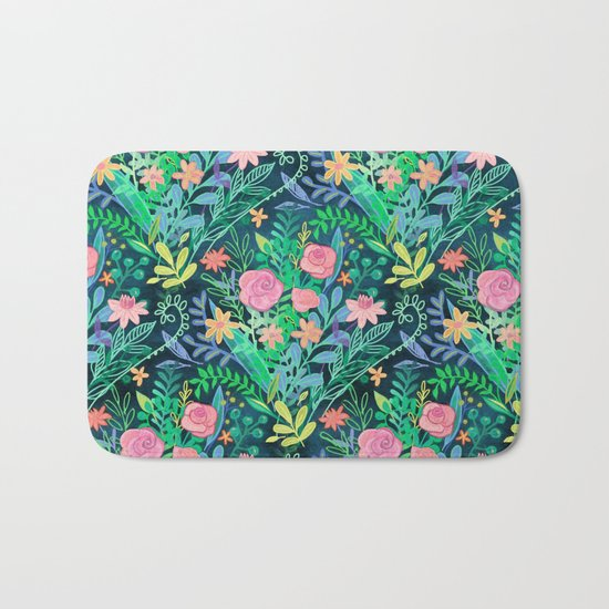 Roses + Green Messy Floral Posie Bath Mat