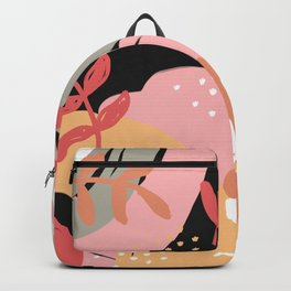 Flowers and leaves. Abstraction. Black background. Backpack