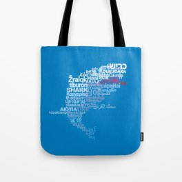 Shark in Different Languages Tote Bag