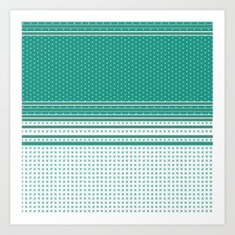Teal Poka Dot Multi Pattern Design Art Print