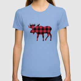 Moose Silhouette in Buffalo Plaid T-shirt