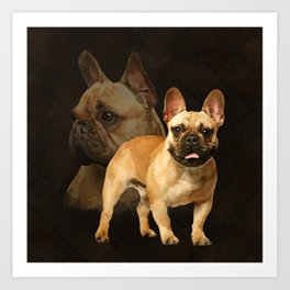 French Bulldog -Frenchie - Brown Plaid Art Print