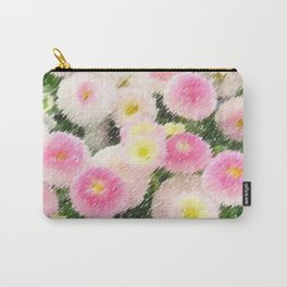 Snowball Bellis Daisy Bouquet Still Life Painting by Jeanpaul Ferro Carry-All Pouch