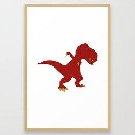 Funny Red Dabbing T-Rex Jurassic Jura Dinosaur Design Framed Art Print