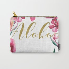 Gold Aloha Floral Wreath Carry-All Pouch