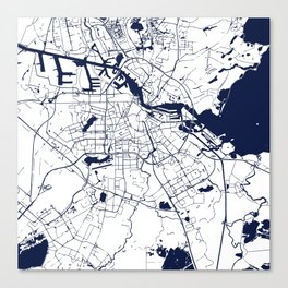 Amsterdam White on Navy Street Map Canvas Print