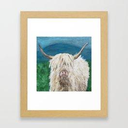 A Sweet Shaggy Highland Coo Framed Art Print