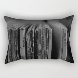 Records Black and White Rectangular Pillow
