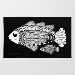 Fishies Zentangle Black and White Pen & Ink Rug