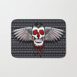 Skull with chromed wings on leather illustration Bath Mat