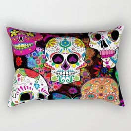 Rocking Color Sugar Skull Day Of The Dead Rectangular Pillow
