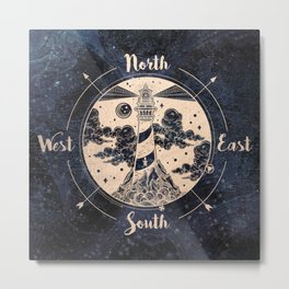 Compass World Star Map Metal Print