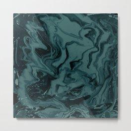 Fluid Marble Painting (Aqua Blue) Metal Print