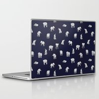 navy Laptop & iPad Skins featuring Indian Baby Elephants in Navy by Estelle F