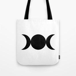 Triple Goddess Symbol - Black on White Tote Bag