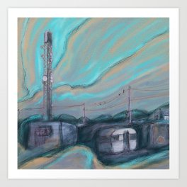Masts, dishes and wires Art Print