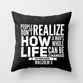Malcolm X One Book Throw Pillow