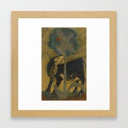 Franz Marc 1880 - 1916 SCHWARZE KUH HINTER BAUM (BLACK COW BEHIND TREE) Framed Art Print