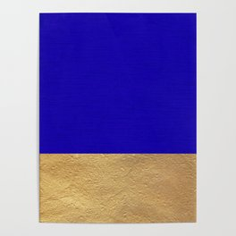 Color Blocked Gold & Cerulean Poster