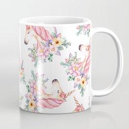 Pink lilac yellow green watercolor magical unicorn floral Coffee Mug
