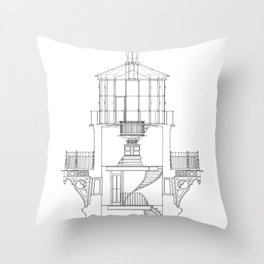 Cape Hatteras Lighthouse Lantern Room Blueprint Throw Pillow