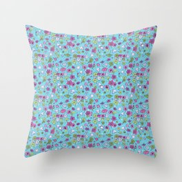 Flowers, Clovers & Diamonds Throw Pillow