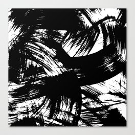 Black hand painted watercolor brushstrokes pattern Canvas Print