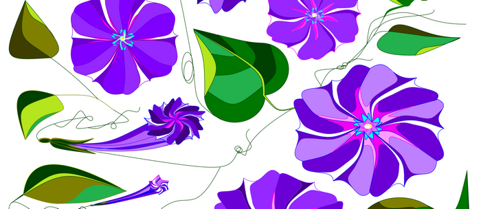 Morning  Glories in Purples and Lavender Coffee Mug