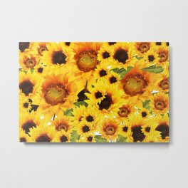 Wild yellow Sunflower Field Illustration Metal Print