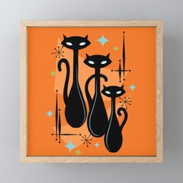 Effervescent Orange Atomic Age Black Kitschy Cat Trio Framed Mini Art Print