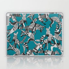 woodland fox party teal blue Laptop & iPad Skin