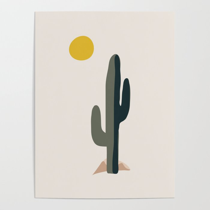 Cactus and the Rising Sun Poster