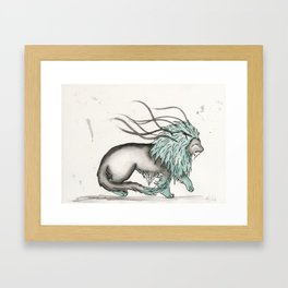 Triclinic the Turquoise Lion. Framed Art Print