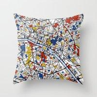 paris map Throw Pillows featuring Paris by Mondrian Maps