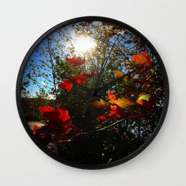 Autumn Leaves in the sun Wall Clock