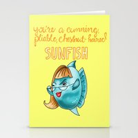 leslie knope Stationery Cards featuring Leslie Knope Compliments: Chestnut-Haired Sunfish  by Shebanimal