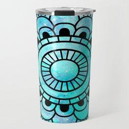 Galaxy Mandala Aqua Indigo Travel Mug