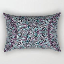 Mandala white pink and cyan lace Rectangular Pillow
