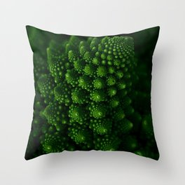 Macro Romanesco Broccoli - Low Key Throw Pillow