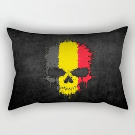 Flag of Belgium on a Chaotic Splatter Skull Rectangular Pillow