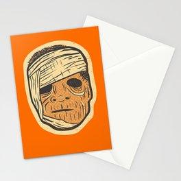 Retro Creepy Halloween Mummy Mask Face Stationery Cards