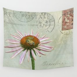 coneflower & bee postale Wall Tapestry