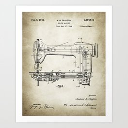 Sewing machine patent 1946 Drawing Art Print