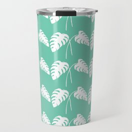 White Monstera Leaf Watercolor on Teal Travel Mug