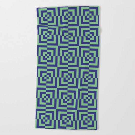 Blue and green - Optical Game 23 Beach Towel